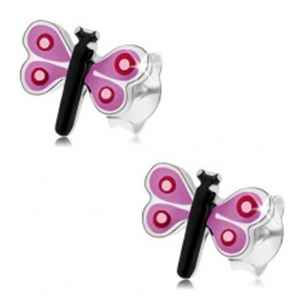 Šperky eshop Puzetové náušnice zo striebra 925, farebný malý motýľ, fialové krídla