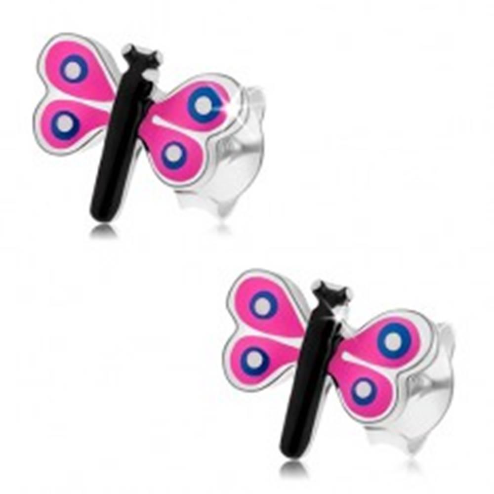 Šperky eshop Puzetové náušnice zo striebra 925, farebný malý motýľ, ružové krídla