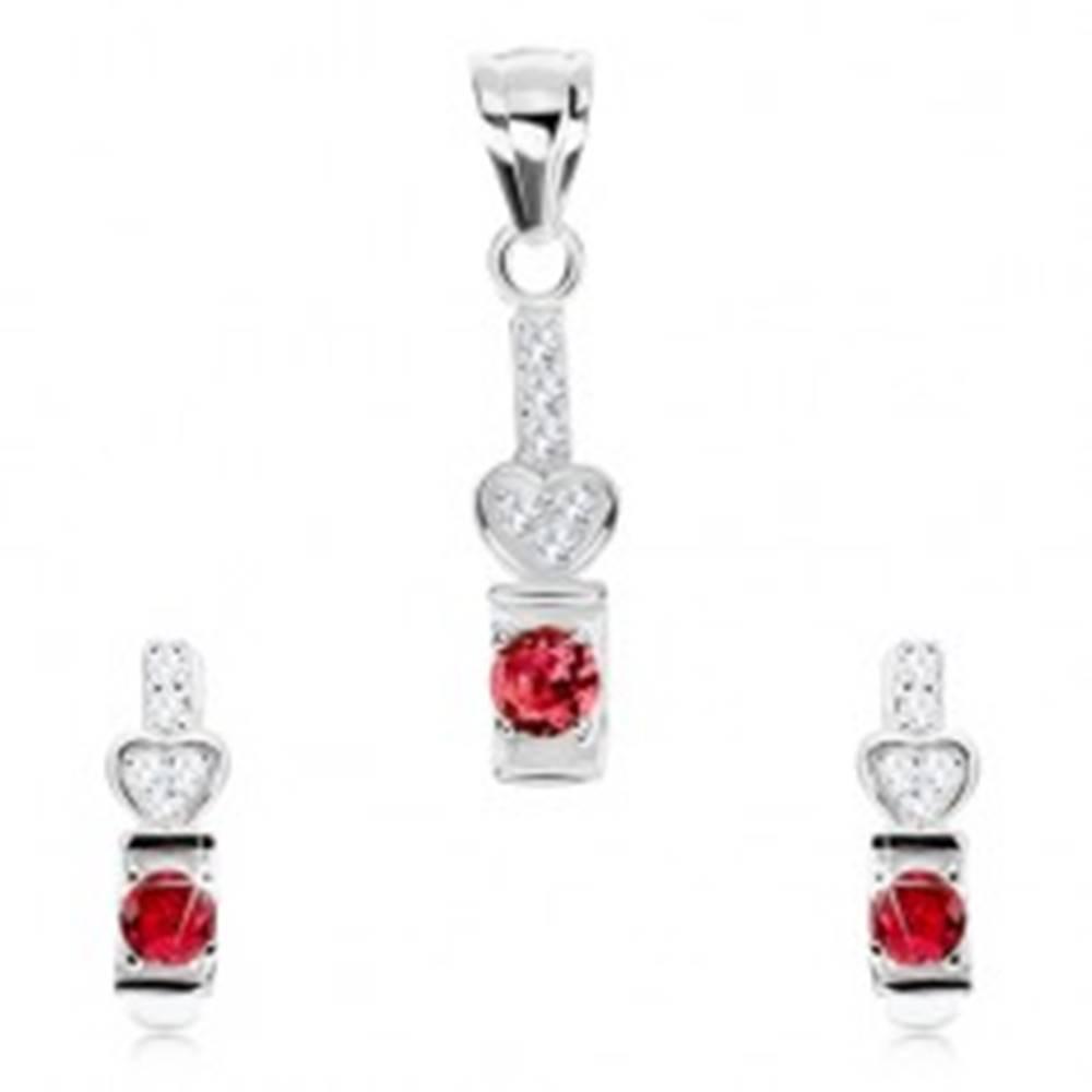 Šperky eshop Set, striebro 925, náušnice a prívesok, ružový zirkón, číre srdiečko