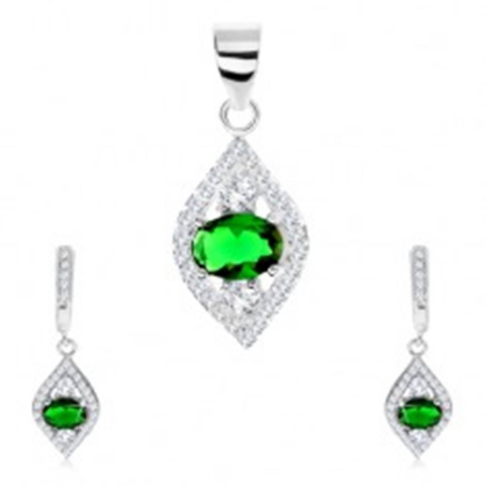 Šperky eshop Strieborná sada 925 - prívesok a náušnice, špicaté zrnko, zelený ovál - zirkón