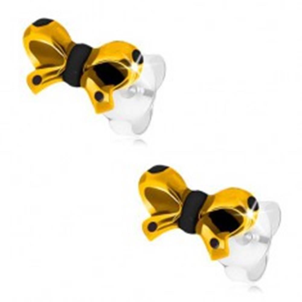 Šperky eshop Strieborné 925 náušnice, glazúrovaná mašlička v žltej a čiernej farbe, puzetky