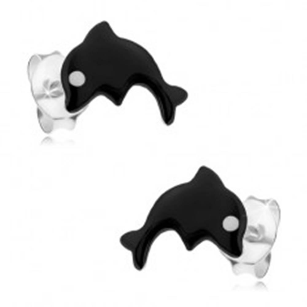 Šperky eshop Strieborné 925 náušnice, malý delfín pokrytý čiernou glazúrou, biele očko