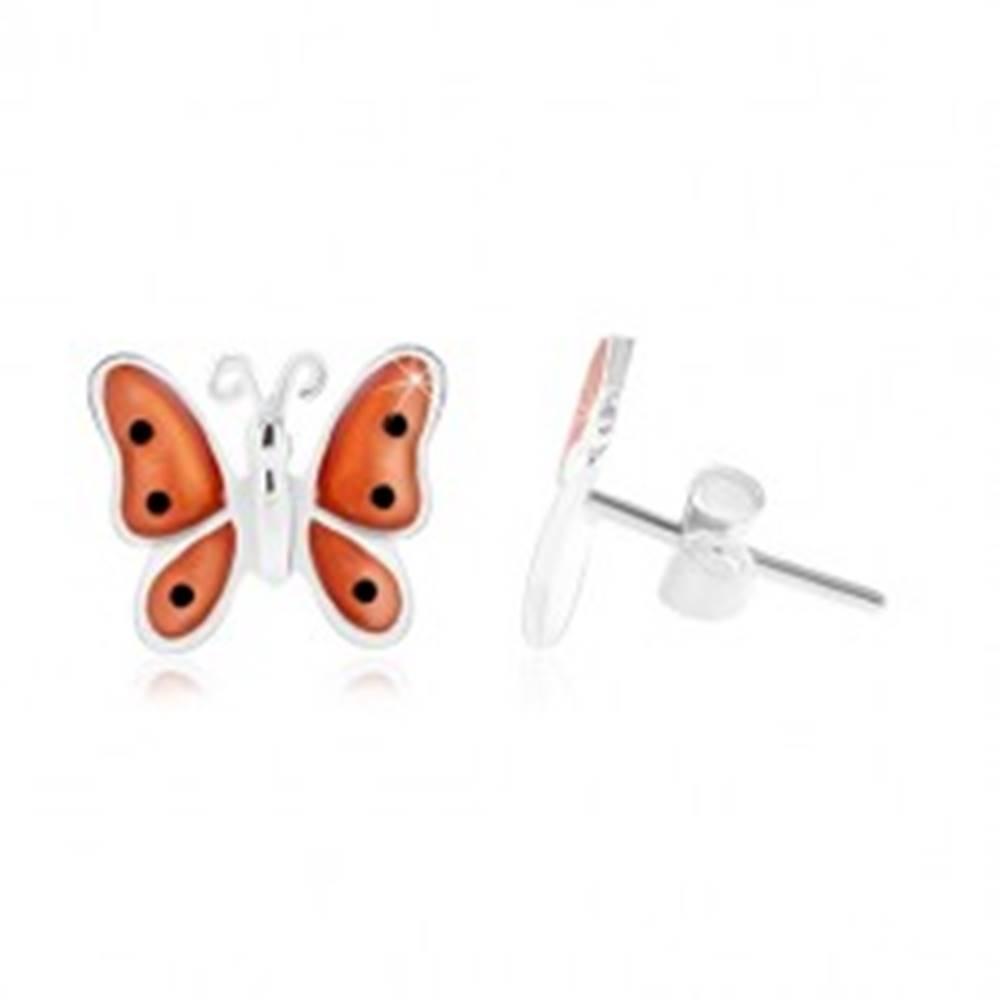 Šperky eshop Strieborné 925 náušnice, motýľ s oranžovými glazúrovanými krídlami