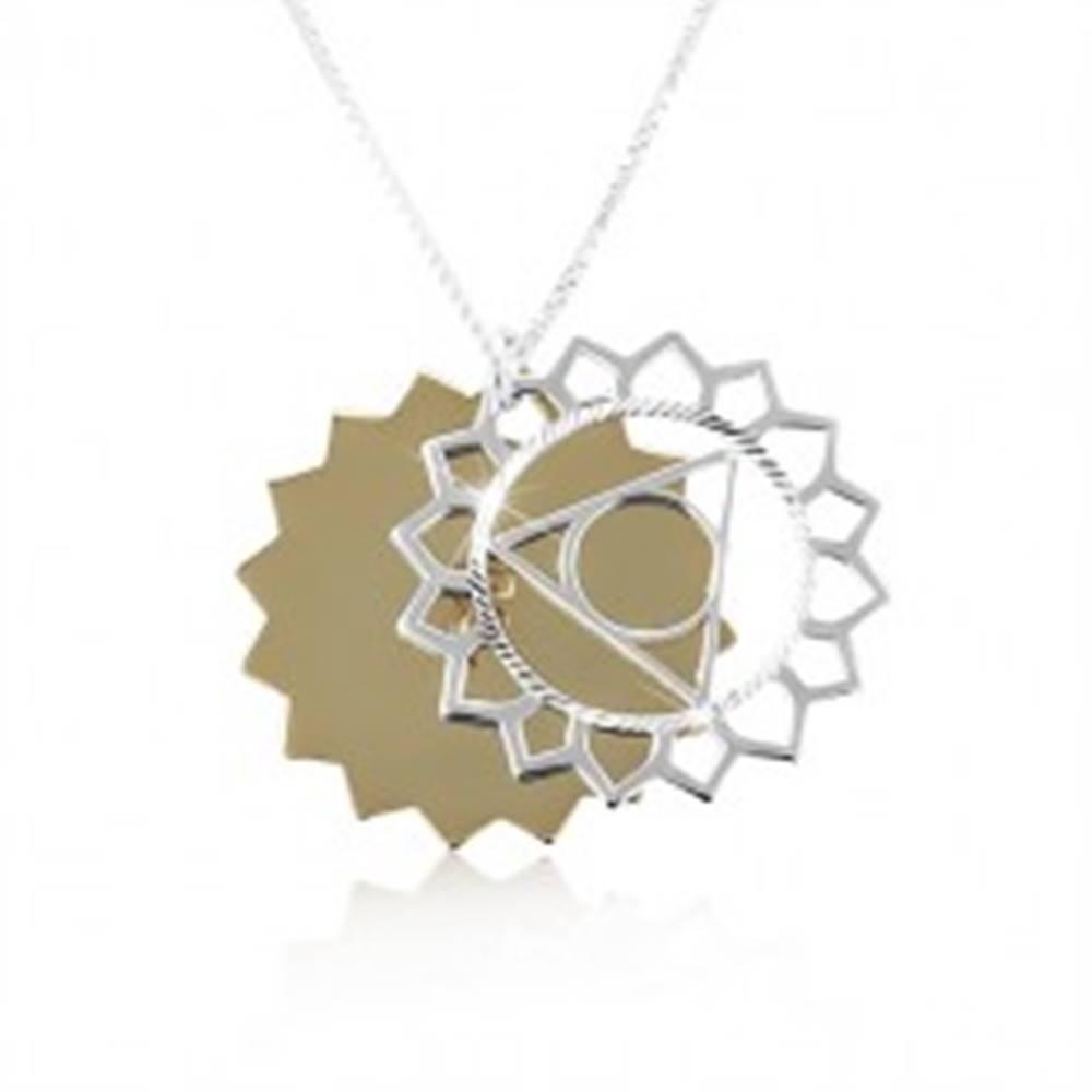 Šperky eshop Strieborný náhrdelník 925, dvojfarebné vyrezávané slnko, ligotavé zárezy
