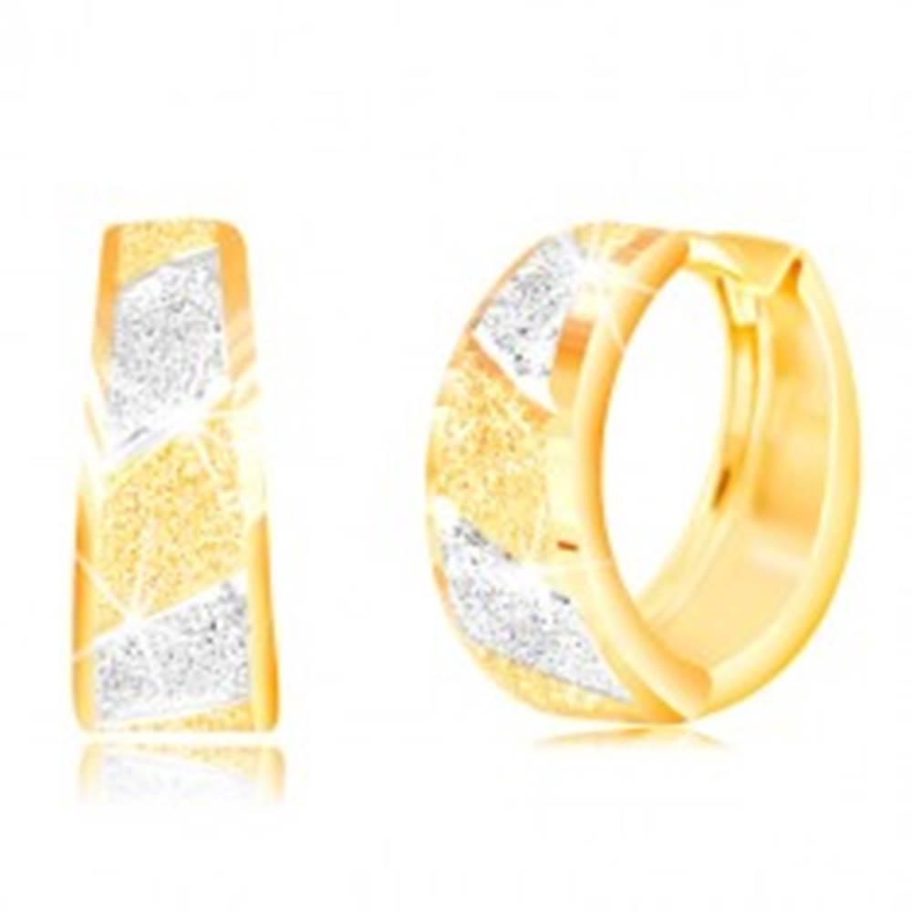 Šperky eshop Zlaté 14K náušnice - trblietavé pieskované pásy v žltom a bielom zlate