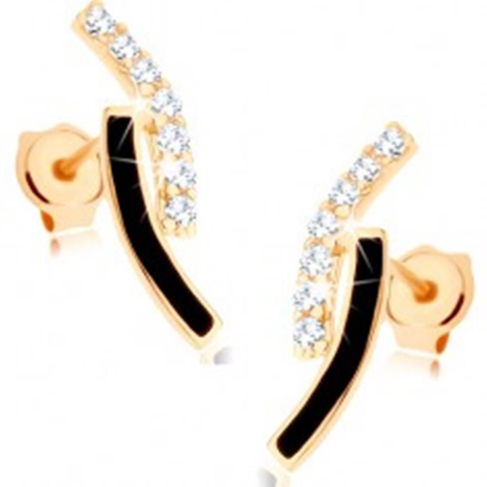 Šperky eshop Zlaté náušnice 375 - dva oblúky, línia čírych zirkónikov, čierna glazúra
