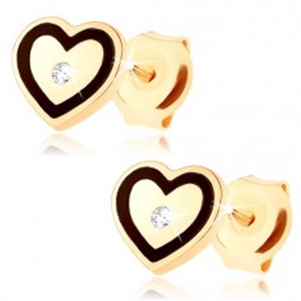 Šperky eshop Zlaté náušnice 375 - súmerné srdiečko, drobný zirkónik, srdcový obrys z čiernej glazúry