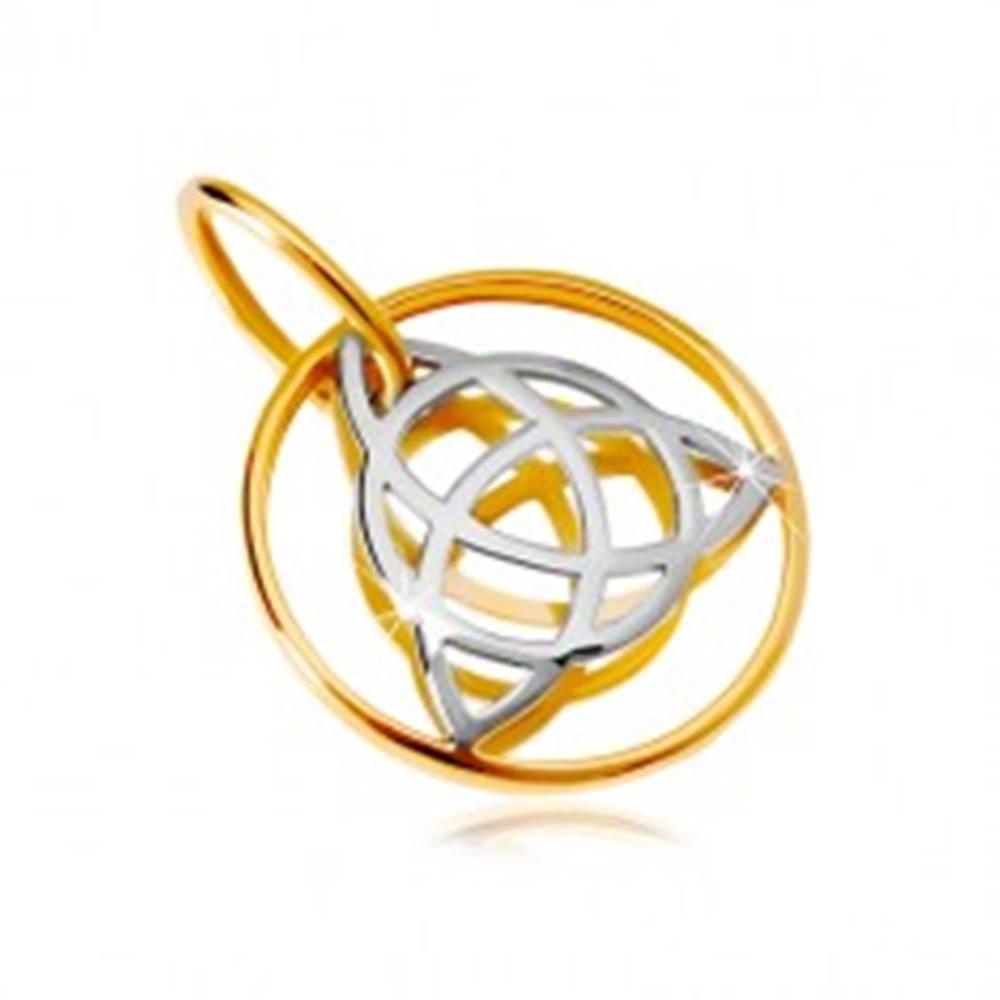 Šperky eshop Zlatý 14K prívesok - dvojfarebný keltský uzol v tenkej obruči