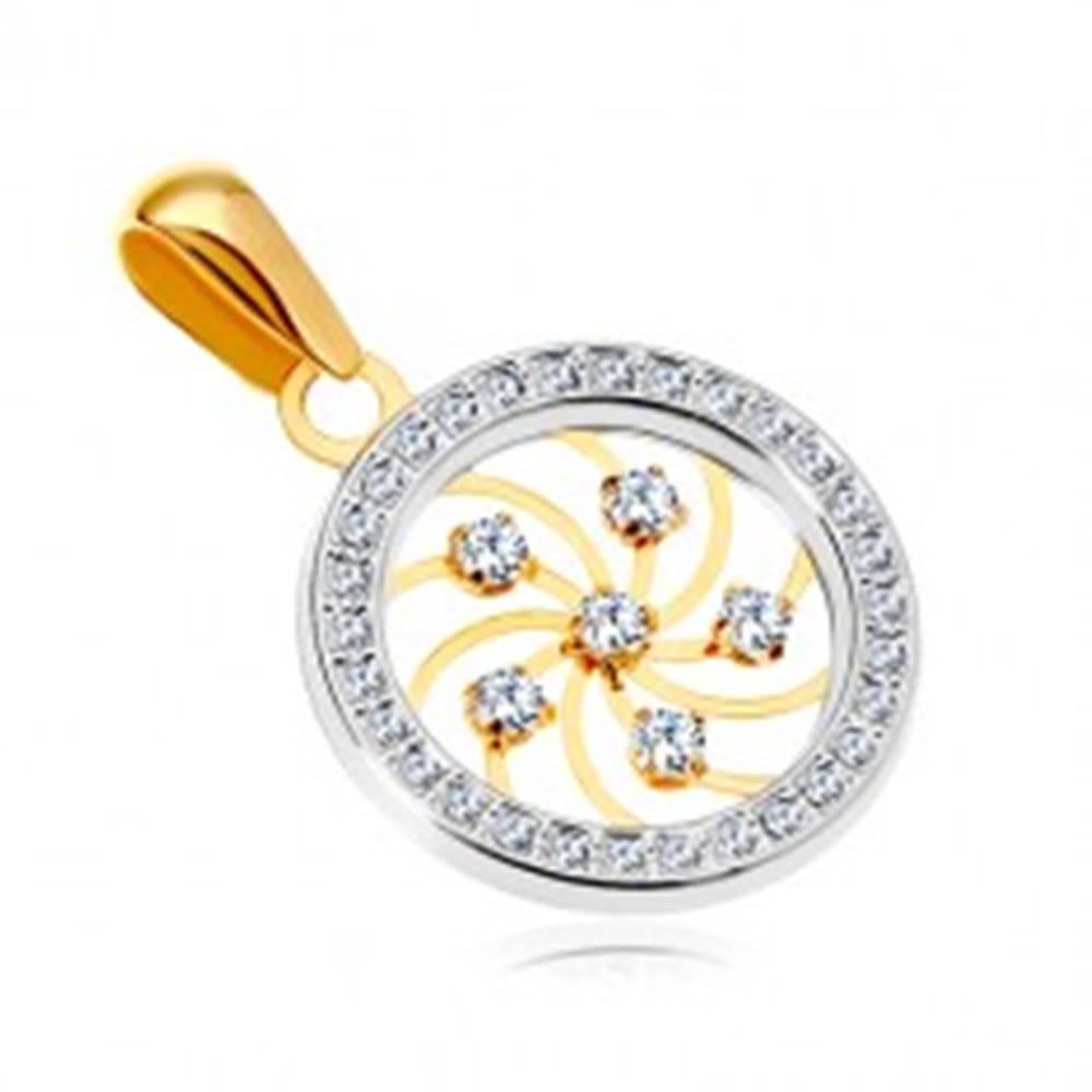 Šperky eshop Zlatý prívesok 585 - lesklá špirála a číre zirkóny v obruči z bieleho zlata