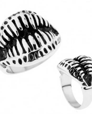 Mohutný prsteň z ocele 316L, vycerené zuby, čierna patina HH6.3 - Veľkosť: 59 mm