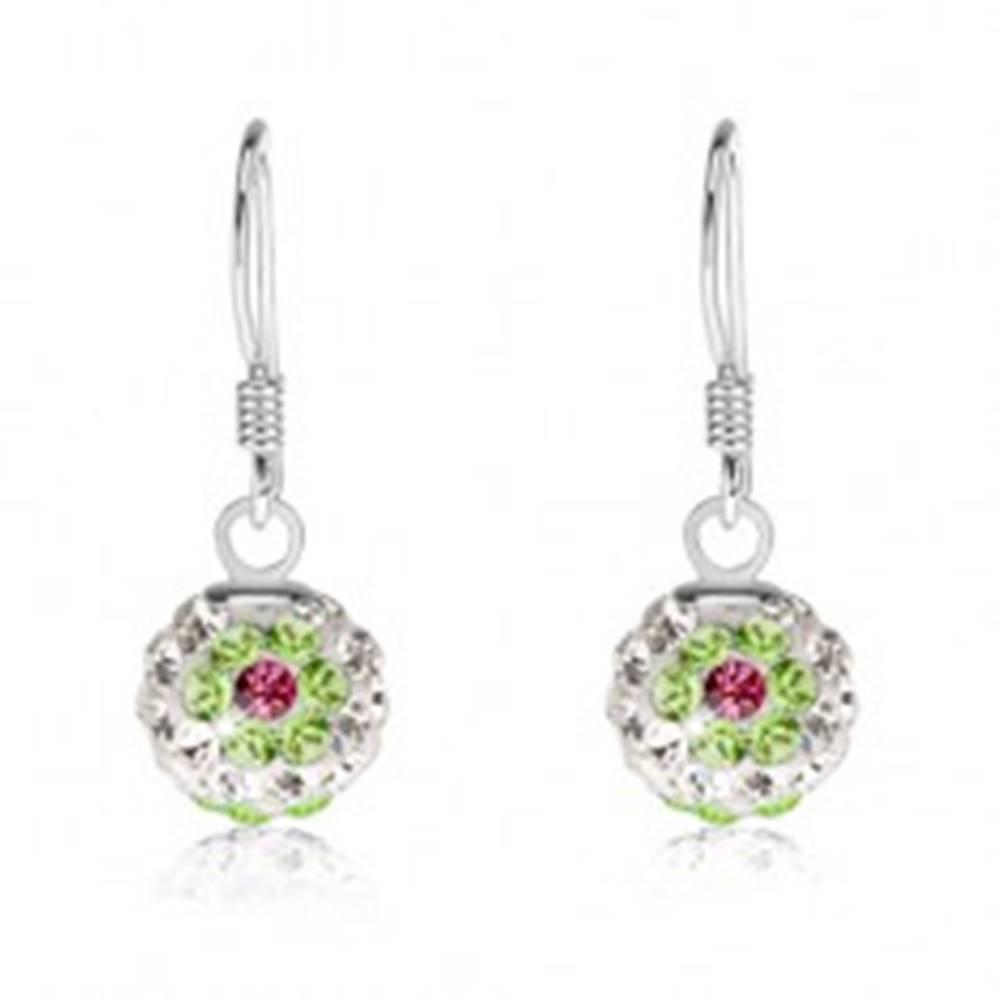 Šperky eshop Biele náušnice zo striebra 925, zeleno-ružové kvety, Preciosa kryštály, 8 mm