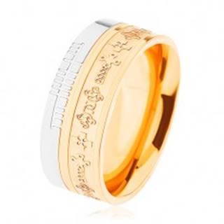 Dvojfarebná oceľová obrúčka - zlatý a strieborný odtieň, vzor - keltské kríže - Veľkosť: 54 mm