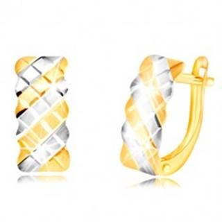 Náušnice v 14K zlate - matný oblúk zdobený dvojfarebnou mriežkou