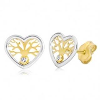 Náušnice zo zlata 585 - dvojfarebné srdce so stromom života a zirkónom