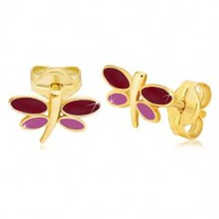 Náušnice zo žltého 14K zlata - vážka s bordovou a fialovou glazúrou na krídlach
