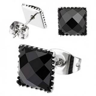 Oceľové náušnice - vsadený štvorcový zirkón, puzetové zapínanie - Veľkosť zirkónu: 4 mm