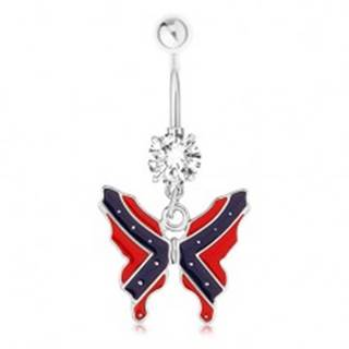 Oceľový piercing do bruška - motýľ, vlajka konfederácie