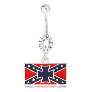 Oceľový piercing do pupka, číry zirkón, južanská vlajka, maltézsky kríž