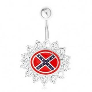 Piercing do brucha z ocele 316L, kvet so zirkónovým lemom, južanská vlajka