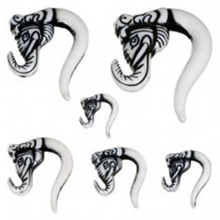 Piercing do ucha - taper, slonia hlava, čierna farba - Hrúbka: 10,5 mm