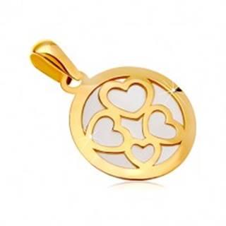 Prívesok zo žltého zlata 585 - kruh vyplnený bielou perleťou, obrysy štyroch sŕdc