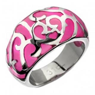 Prsteň z ocele - ružový s kovovou dekoráciou, srdiečko - Veľkosť: 50 mm