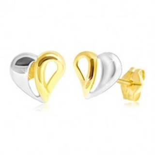 Puzetové zlaté 14K náušnice - dvojfarebné srdiečko s výrezmi