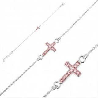 Strieborný náramok 925 - krížik s ružovými zirkónmi