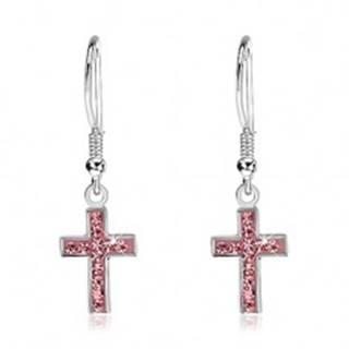 Visiace náušnice zo striebra 925 - krížik s ružovými zirkónmi