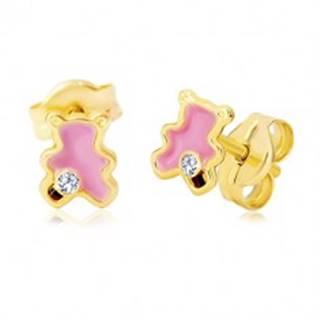 Zlaté 14K náušnice, medvedík zdobený ružovou glazúrou a zirkónom