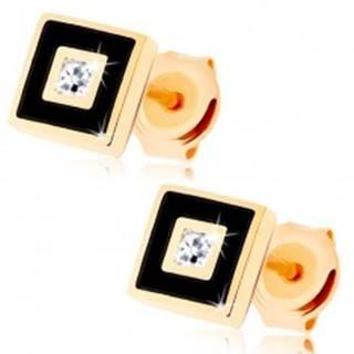 Zlaté náušnice 375 - štvorček zdobený čiernou glazúrou, číry zirkónik