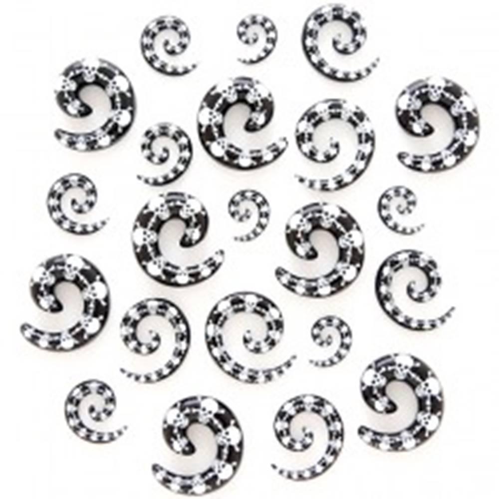Šperky eshop Expander do ucha - usmievavá lebka s prekríženými kosťami, špirála - Hrúbka: 3 mm