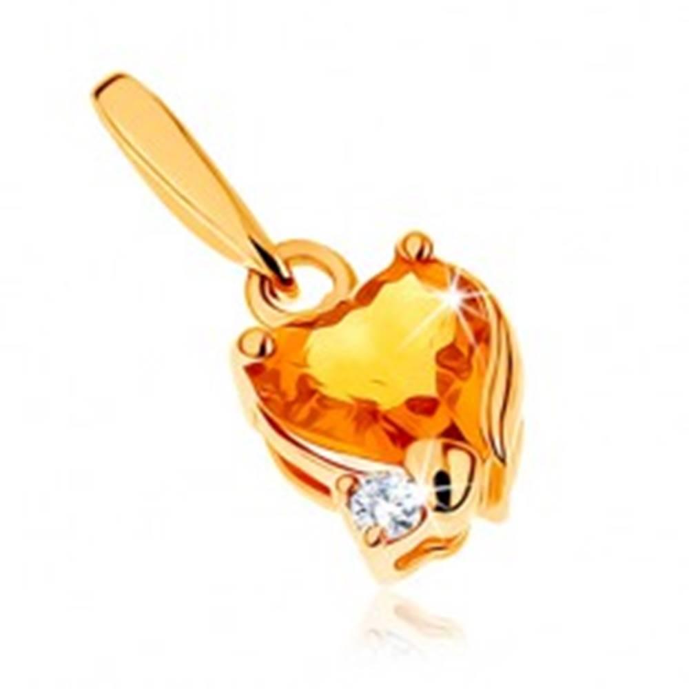 Šperky eshop Ligotavý prívesok v žltom 14K zlate - srdiečkový citrín žltej farby, číry zirkónik