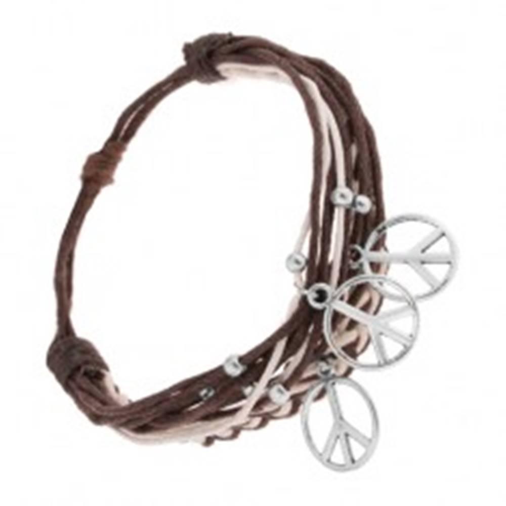 Šperky eshop Nastaviteľný náramok, šnúrky, oceľové prívesky - mierový znak