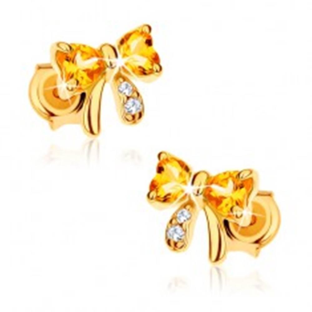 Šperky eshop Náušnice v žltom 14K zlate - mašľa zo žltých citrínových sŕdc, číre zirkóny