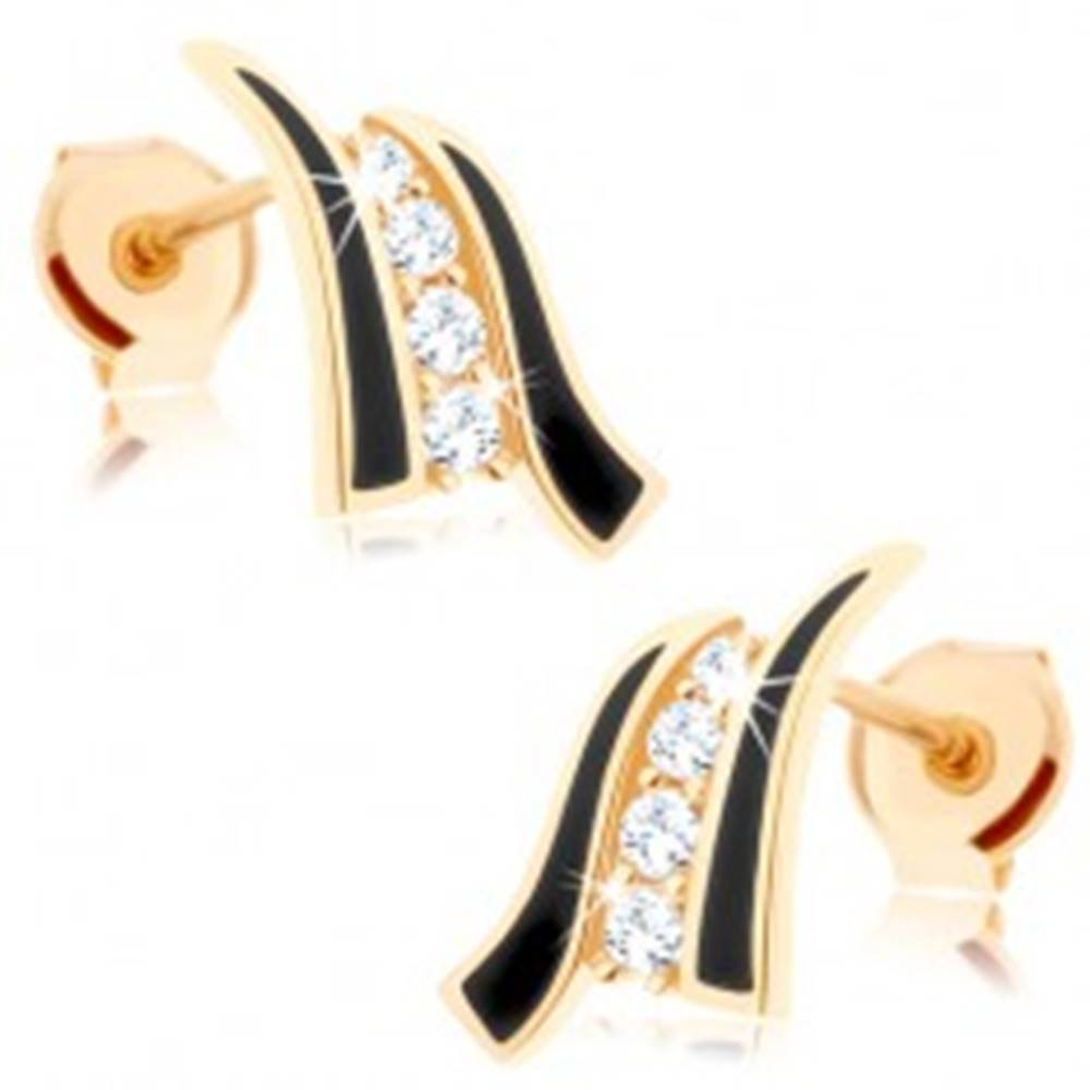 Šperky eshop Náušnice v žltom 9K zlate - dve čierne vlnky, línia čírych zirkónov