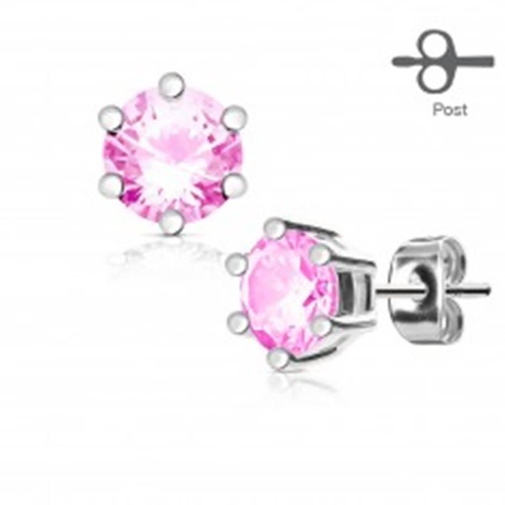 Šperky eshop Náušnice z chirurgickej ocele striebornej farby, okrúhly ružový zirkón v kotlíku - Priemer: 3 mm