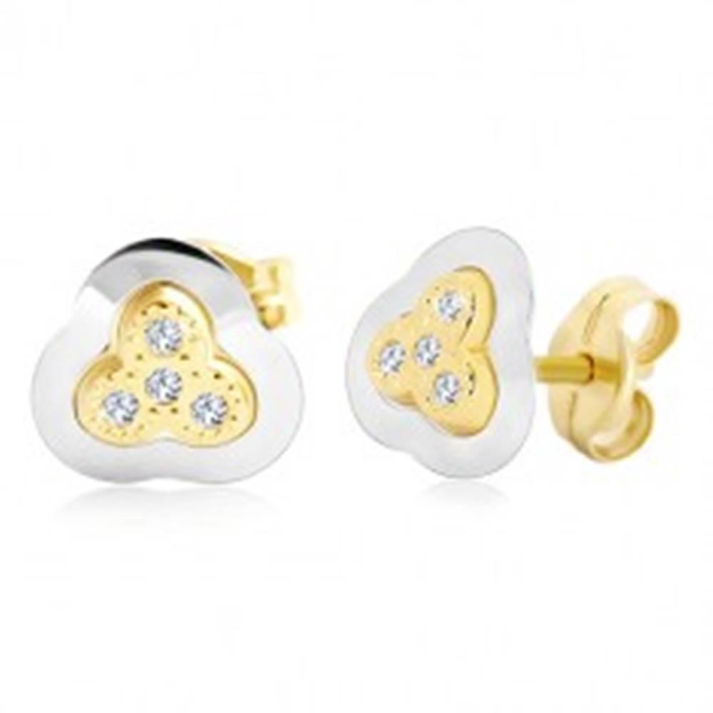 Šperky eshop Náušnice zo 14K zlata - dvojfarebný trojlístok so vsadenými zirkónmi
