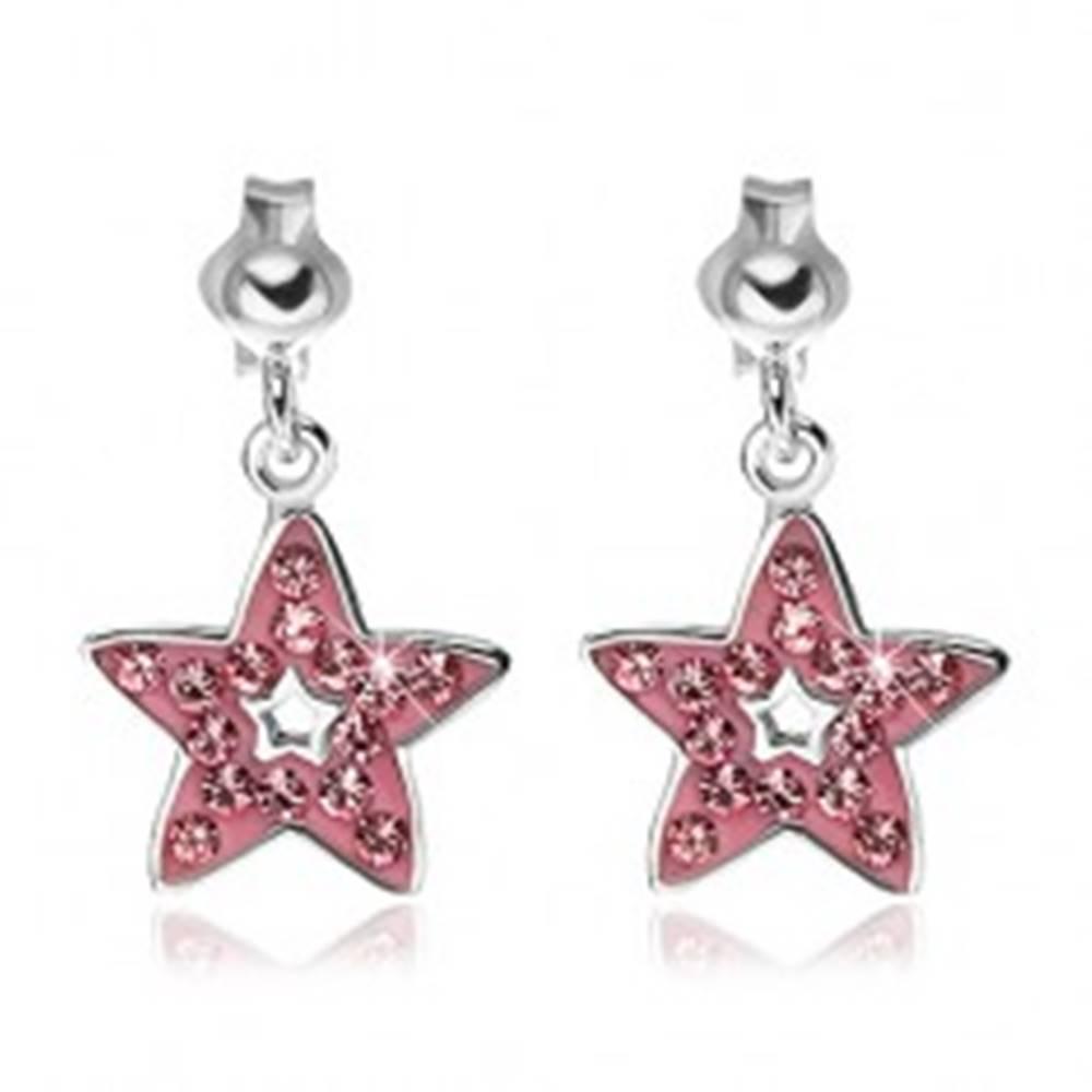 Šperky eshop Náušnice zo striebra 925 - prívesok ružová hviezda so zirkónmi