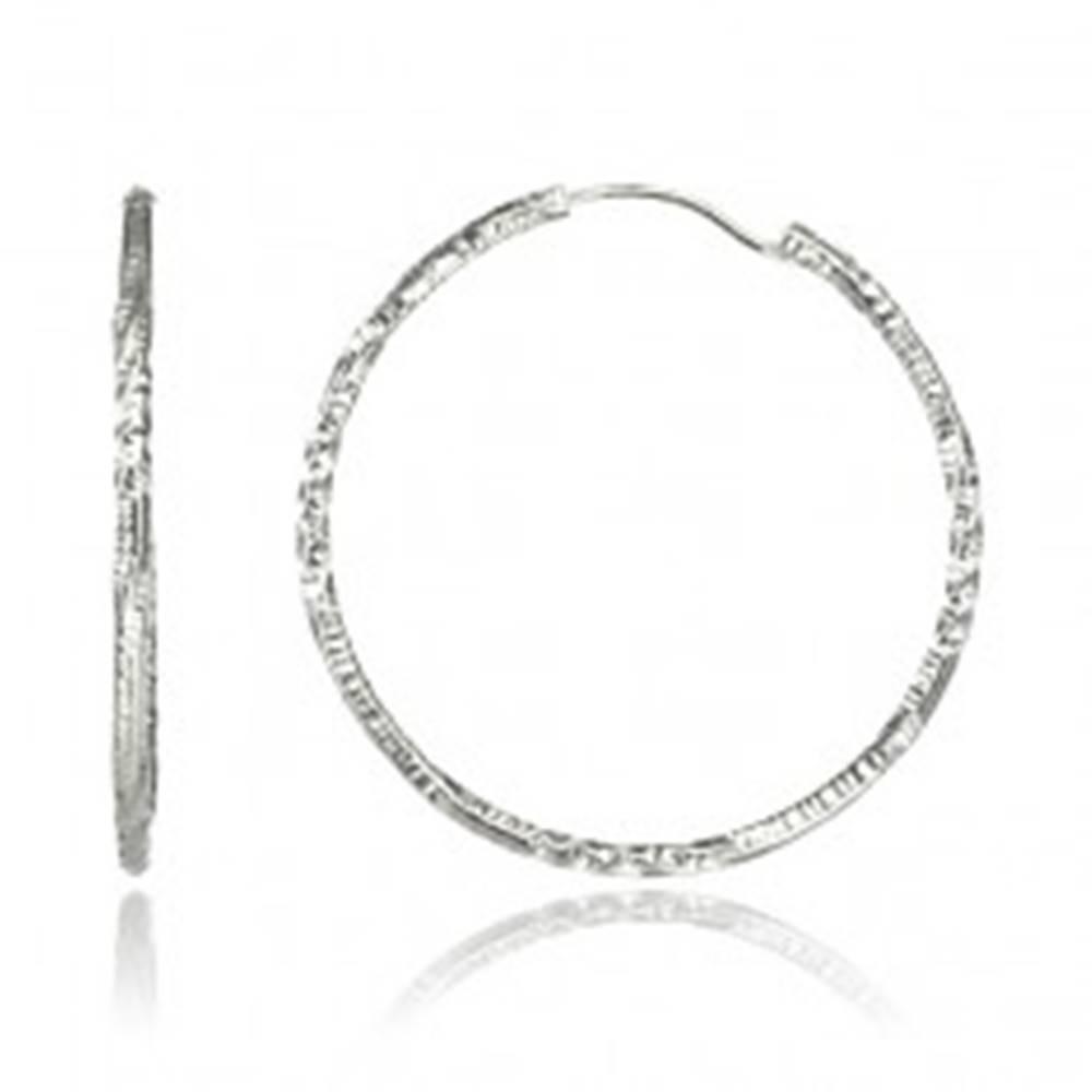 Šperky eshop Náušnice zo striebra 925 - viackrát stočené kruhy, 30 mm
