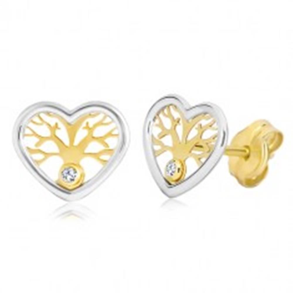 Šperky eshop Náušnice zo zlata 585 - dvojfarebné srdce so stromom života a zirkónom