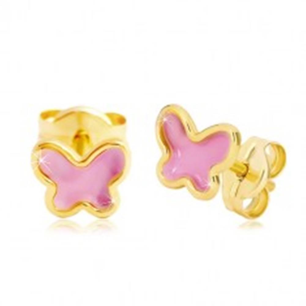 Šperky eshop Náušnice zo žltého 14K zlata, motýlik s ružovou glazúrou, puzetky