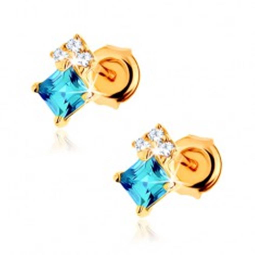 Šperky eshop Náušnice zo žltého 14K zlata, štvorcový modrý topás, číre zirkóniky