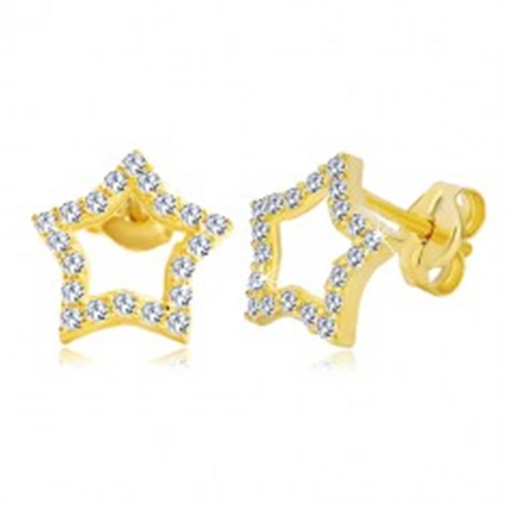 Šperky eshop Náušnice zo žltého zlata 585 - kontúra hviezdy zdobená čírymi zirkónmi