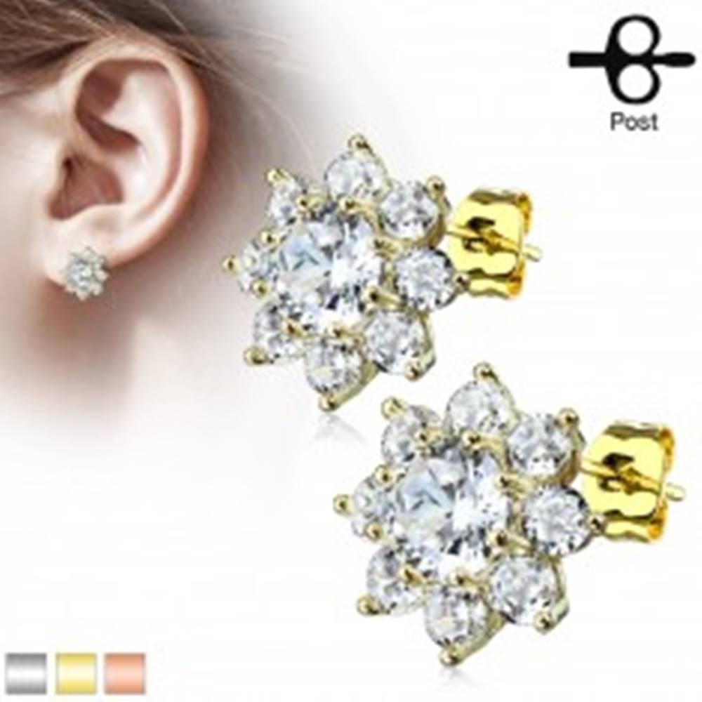Šperky eshop Oceľové náušnice, ligotavý kvet z okrúhlych čírych zirkónov, puzetky - Farba: Medená