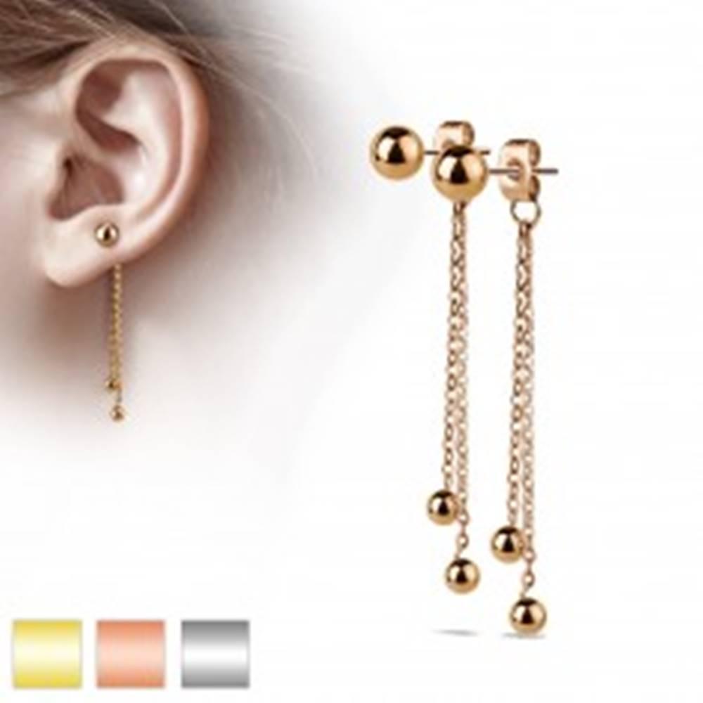 Šperky eshop Oceľové náušnice, puzetky s dvoma retiazkami a guličkami - Farba: Medená