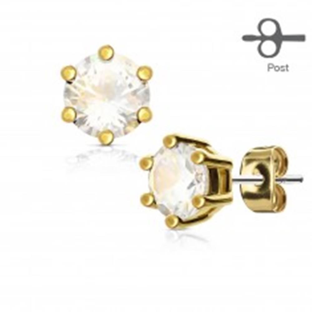 Šperky eshop Oceľové puzetové náušnice, okrúhly číry zirkón v kotlíku zlatej farby - Priemer: 3 mm
