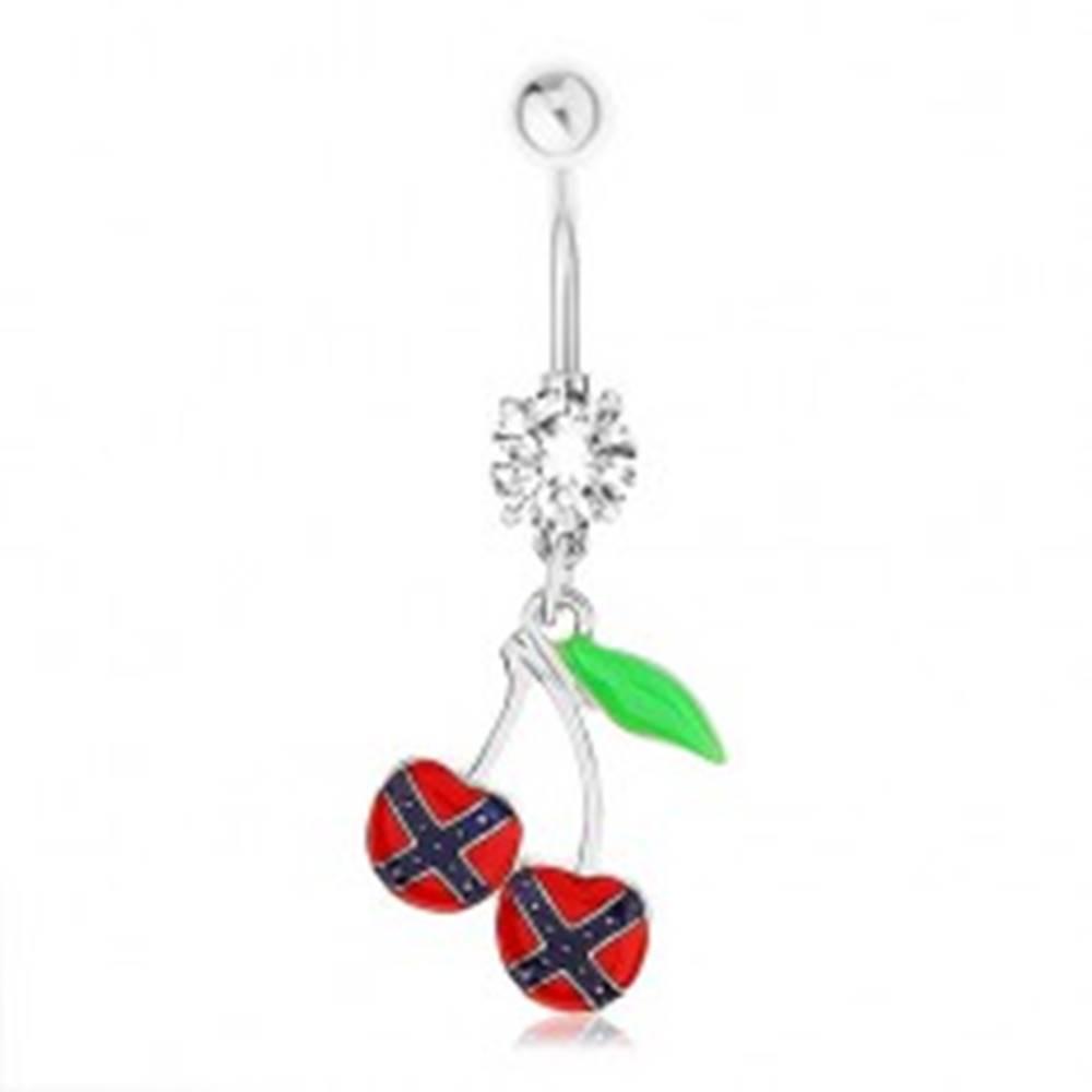 Šperky eshop Oceľový piercing do pupka, čerešničky, vlajka konfederácie, zelený list