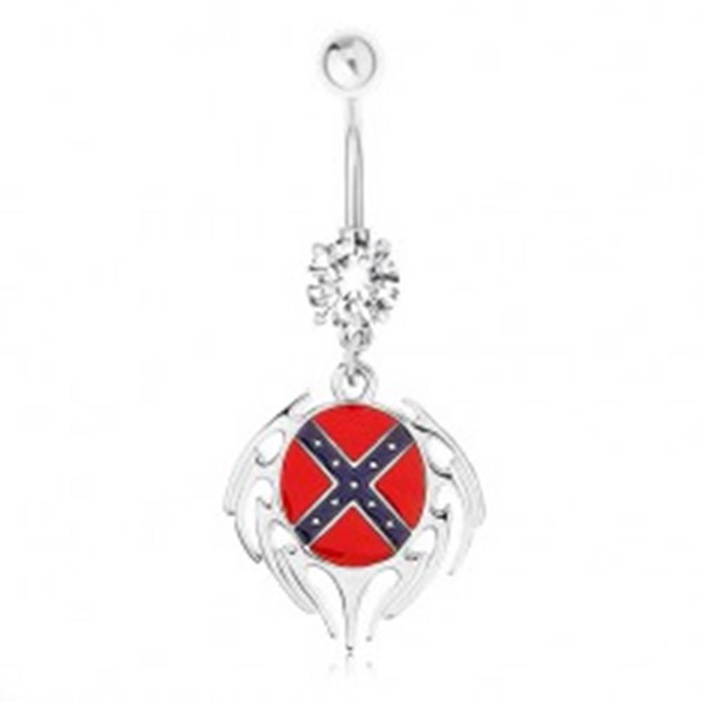 Šperky eshop Oceľový piercing do pupka, číry zirkón, ovál s južanskou vlajkou, lem