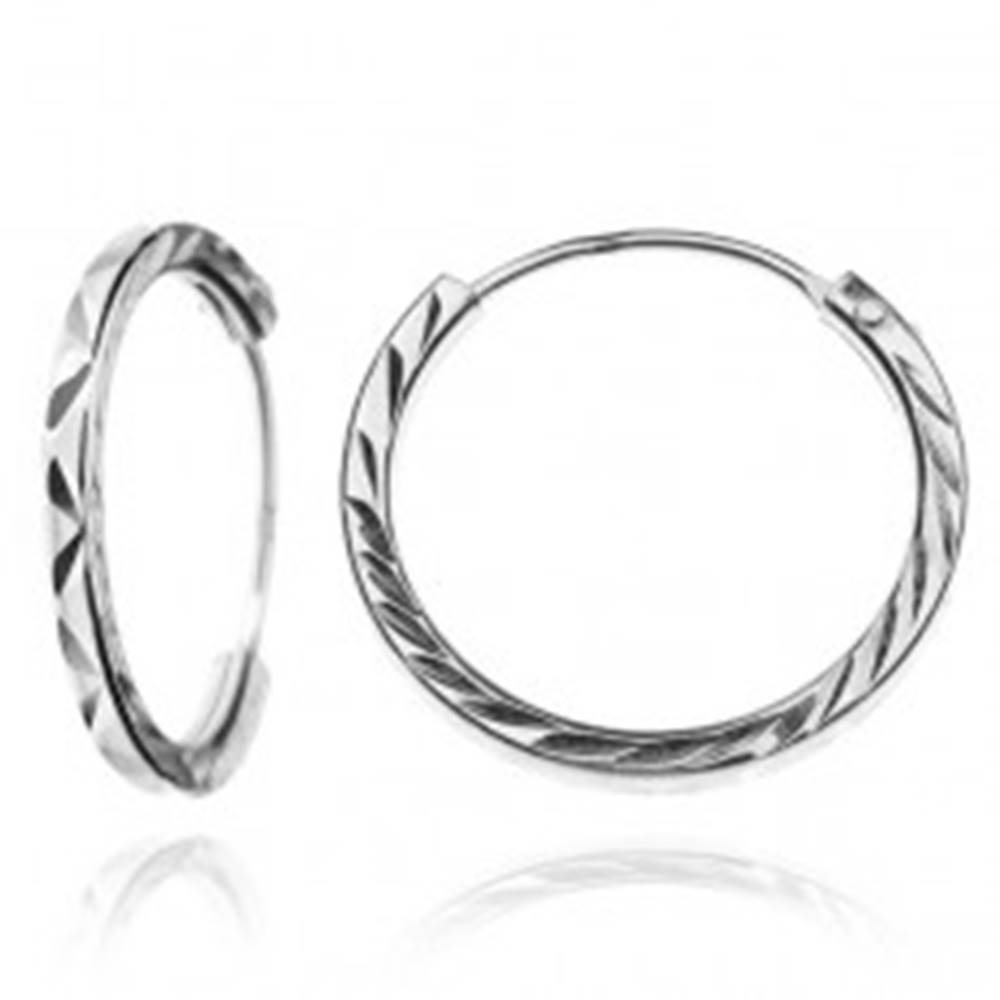 Šperky eshop Okrúhle strieborné náušnice 925 - cikcak ryhovanie, 15 mm